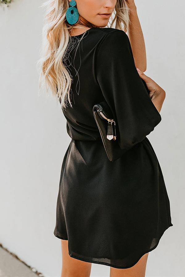 Sexy V-Neck Lantern   Pocket Skirt Black s