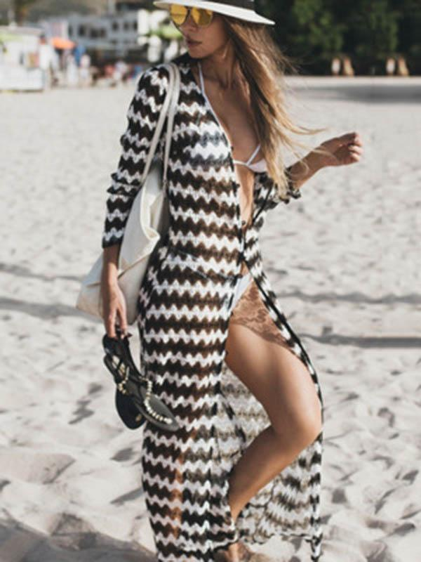 Stripes Long Sleeves Cover-up Dress FREE SIZE