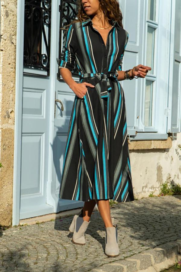 Casual  V Neck Tunic Slim Strips Maxi Dresses Same As Photo s