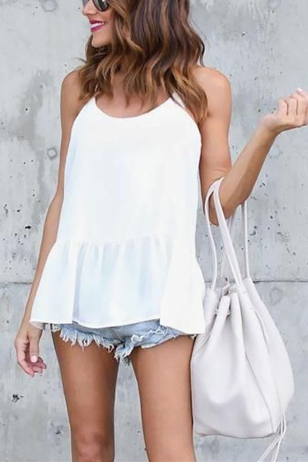 Fashion Casual Sexy   Sling T-Shirt Blouse White s