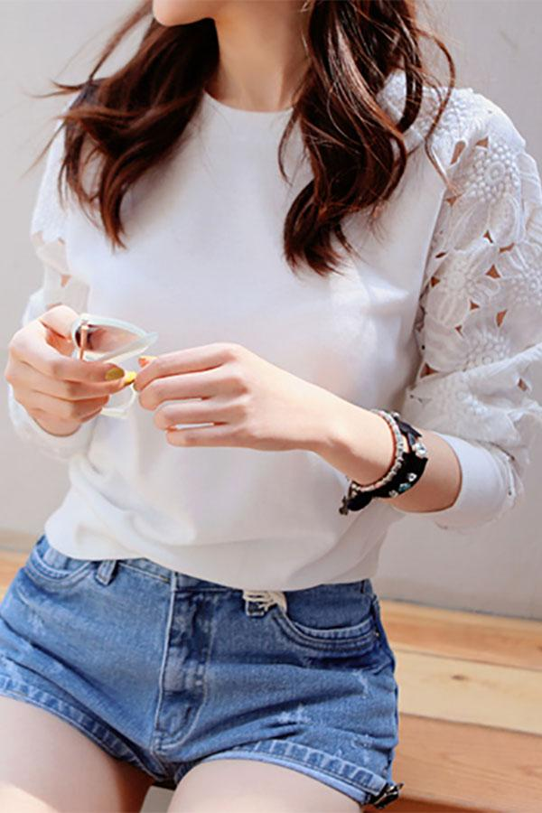 Casual Flower Lace Hollow Out Long Sleeve Sweater White s