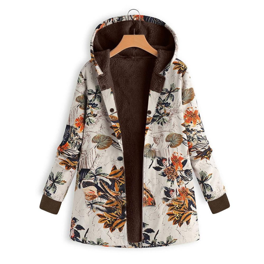 Long-Sleeved Hooded   Thick Plush Retro Flower Print Large Size Hooded Jacket Green s