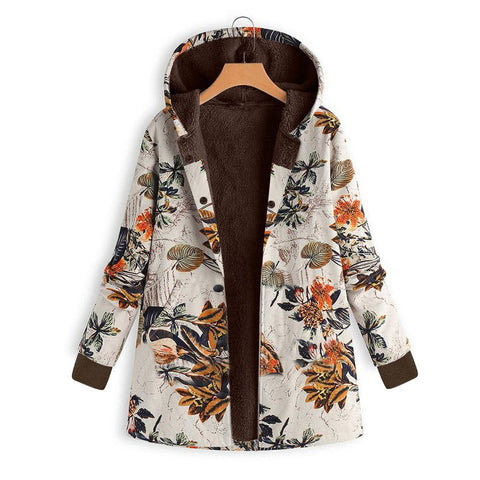 Image of Long-Sleeved Hooded   Thick Plush Retro Flower Print Large Size Hooded Jacket Green s