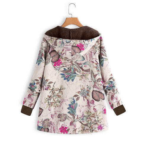 Image of Long-Sleeved Hooded   Thick Plush Retro Flower Print Large Size Hooded Jacket Red 5xl