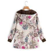 Image of Long-Sleeved Hooded   Thick Plush Retro Flower Print Large Size Hooded Jacket Green 3xl