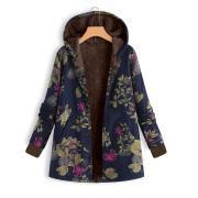 Long-Sleeved Hooded   Thick Plush Retro Flower Print Large Size Hooded Jacket Blue s