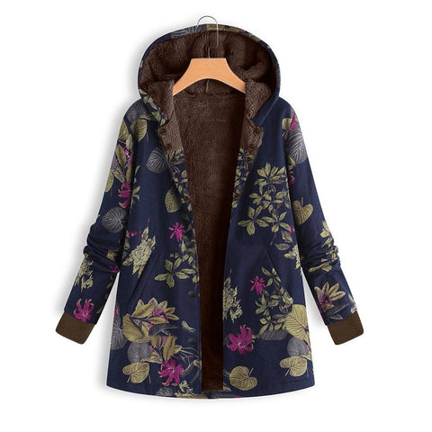 Image of Long-Sleeved Hooded   Thick Plush Retro Flower Print Large Size Hooded Jacket Red 3xl