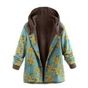 Long-Sleeved Hooded   Thick Plush Retro Flower Print Large Size Hooded Jacket Blue m