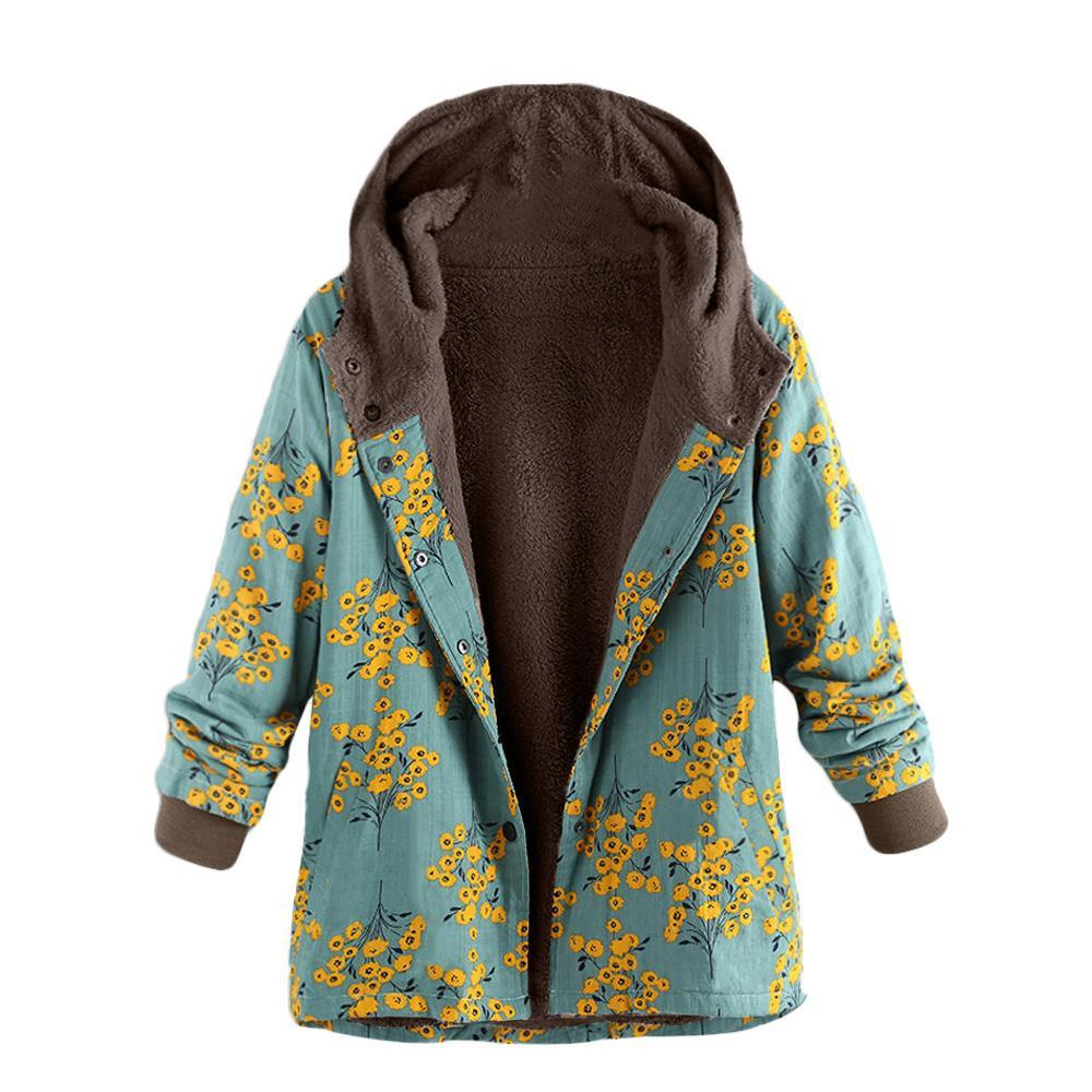 Long-Sleeved Hooded   Thick Plush Retro Flower Print Large Size Hooded Jacket Red xl