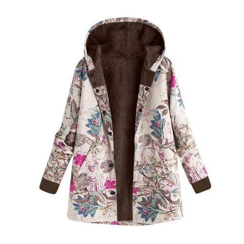 Image of Long-Sleeved Hooded   Thick Plush Retro Flower Print Large Size Hooded Jacket Red 4xl