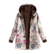 Image of Long-Sleeved Hooded   Thick Plush Retro Flower Print Large Size Hooded Jacket Green 4xl