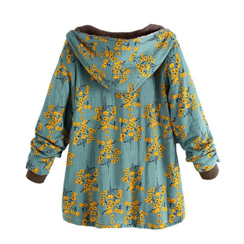 Image of Long-Sleeved Hooded   Thick Plush Retro Flower Print Large Size Hooded Jacket Red 2xl