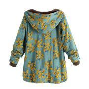 Image of Long-Sleeved Hooded   Thick Plush Retro Flower Print Large Size Hooded Jacket Green 5xl