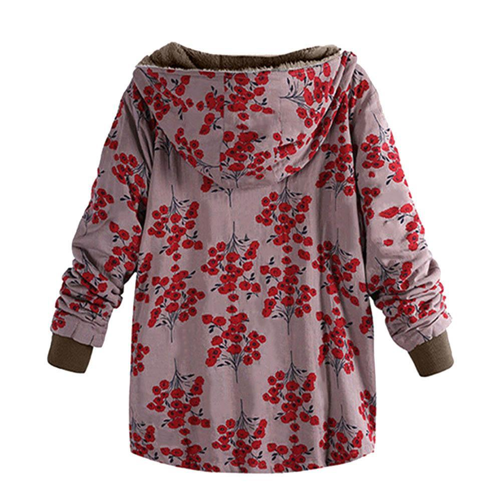 Long-Sleeved Hooded   Thick Plush Retro Flower Print Large Size Hooded Jacket Red l