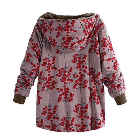 Image of Long-Sleeved Hooded   Thick Plush Retro Flower Print Large Size Hooded Jacket Red l