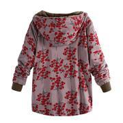 Image of Long-Sleeved Hooded   Thick Plush Retro Flower Print Large Size Hooded Jacket Blue xl