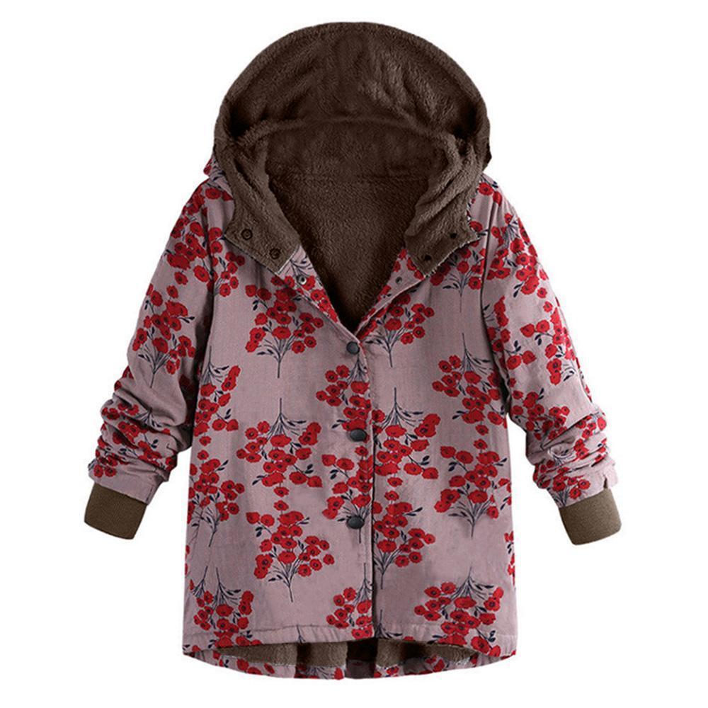 Long-Sleeved Hooded   Thick Plush Retro Flower Print Large Size Hooded Jacket Red m