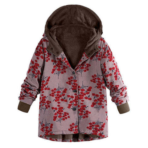 Image of Long-Sleeved Hooded   Thick Plush Retro Flower Print Large Size Hooded Jacket Red m
