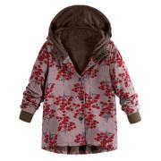 Image of Long-Sleeved Hooded   Thick Plush Retro Flower Print Large Size Hooded Jacket Blue l