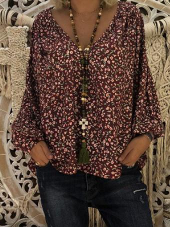 Image of Joygos V-neck Printed Shirt with Bubble Sleeves