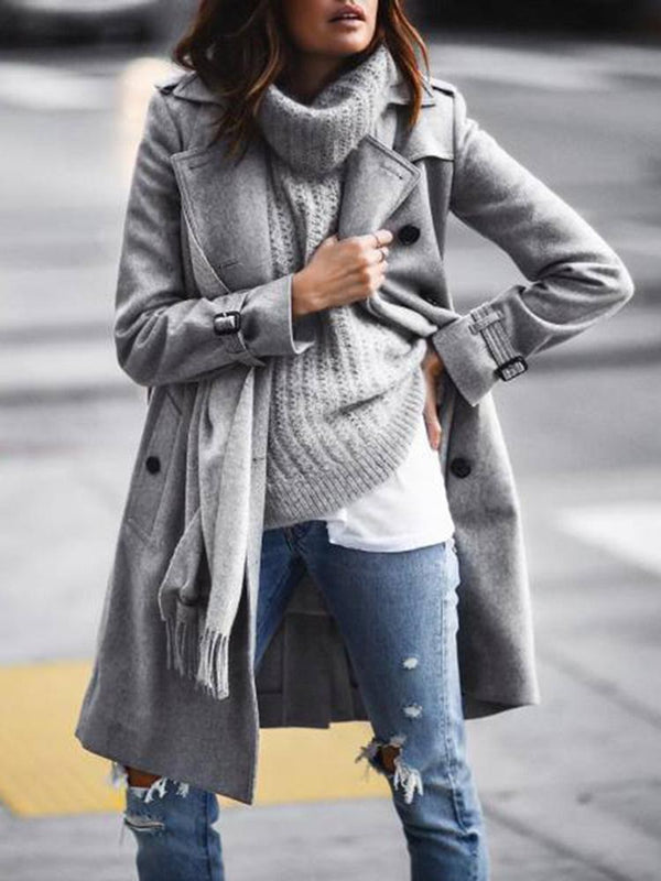 Ladies Fashion Large Lapel Double-Breasted Woolen Coat