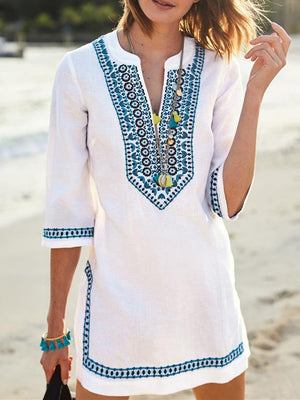 V-neck Half Sleeves Beach Loose Cover-Ups FREE SIZE