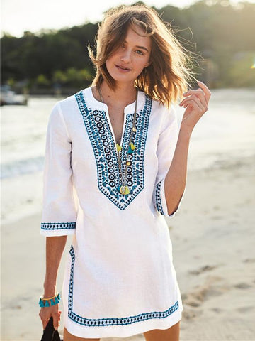 Joygos V-neck Half Sleeves Beach Loose Cover-Ups