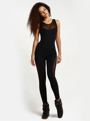 Joygos Black Gauze Yoga Close-fitting Jumpsuit