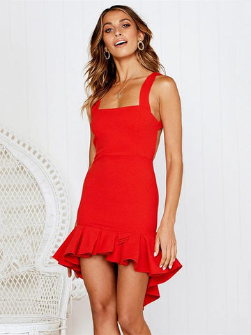 Joygos Sexy Wrap Falbala Backless Solid Mini Dresses