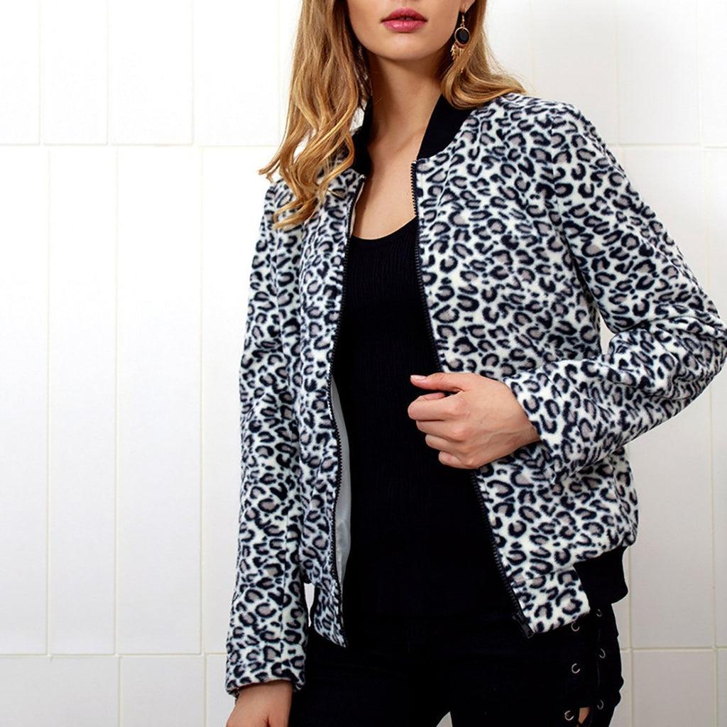 Fashion Zipper Leopard Outwear same_as_photo l