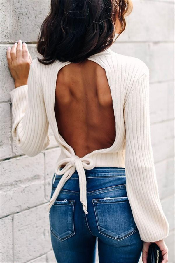 Sexy backless high neck   long sleeve short knit sweater White s