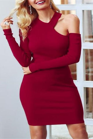 Image of Elegant Chic Slim Plain Off Shoulder Long Sleeve Halter Bodycon Dress Black s
