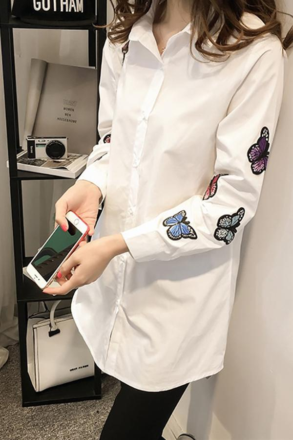 Fashion Long Sleeve Butterfly Embroidery Loose Shirt White s