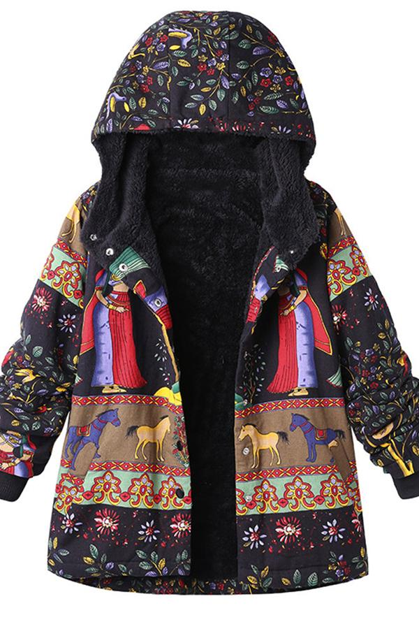 Vintage Printing Hooded Coats For Women Black m