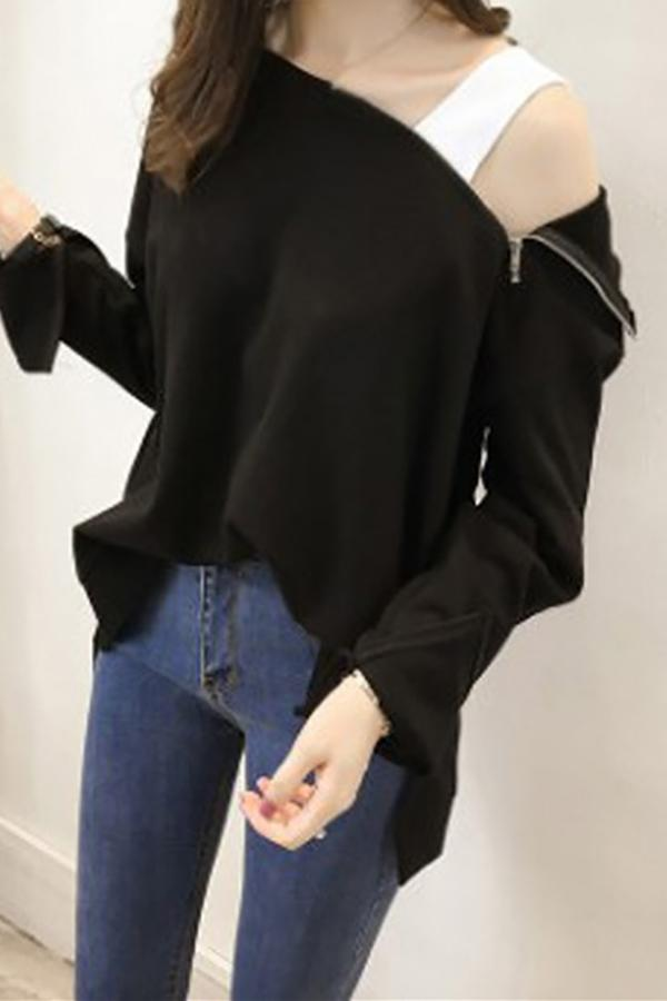 Fashion Sexy Off The   Shoulder Hoodies Blouse Black m