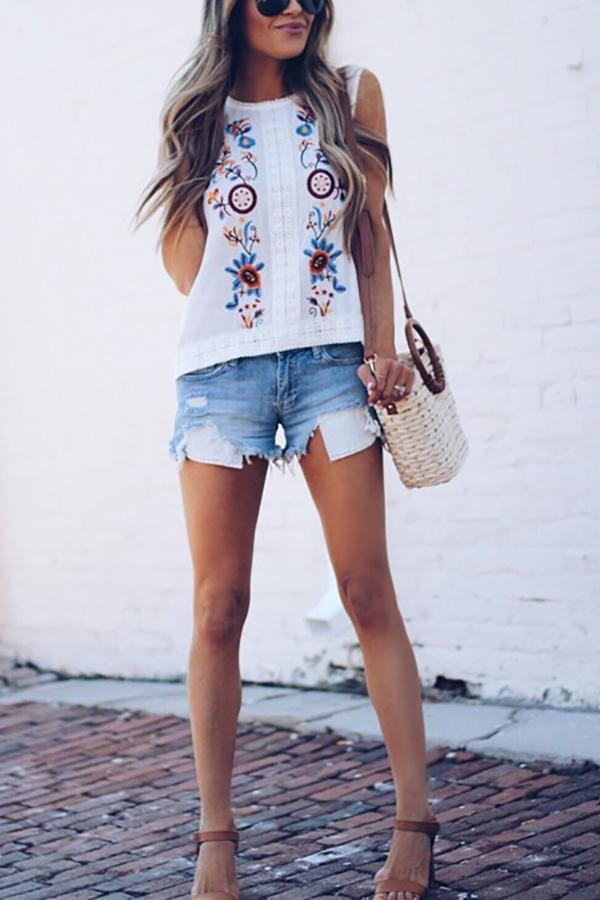 Casual Embroidered   Lace Loose Vest Blouse White s