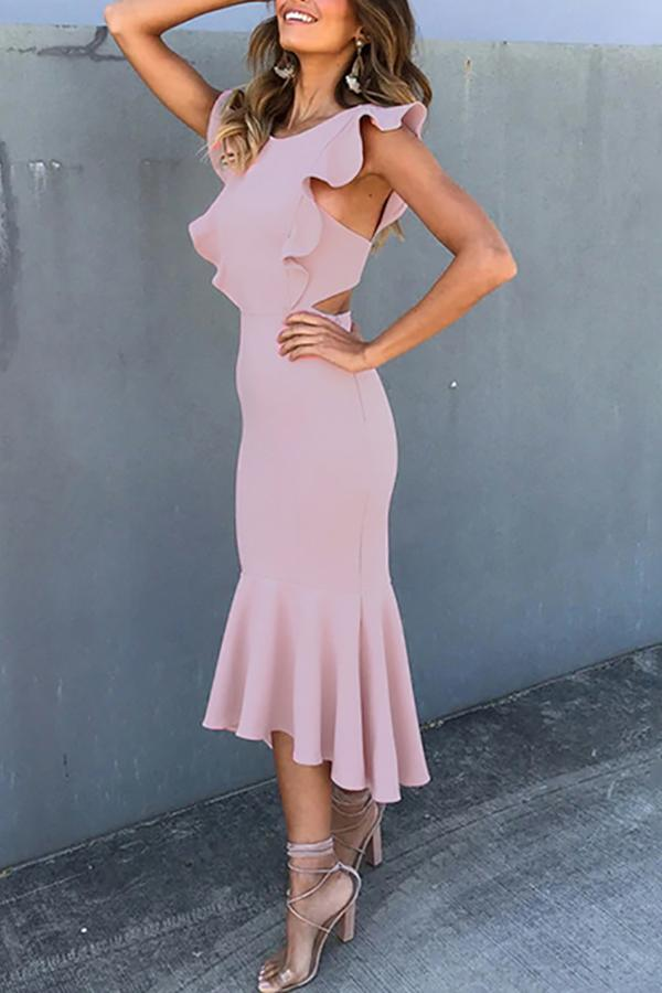 Casual Sexy Backless Sleeveless   Pure Color Fishtail Maxi Dresses Pink s