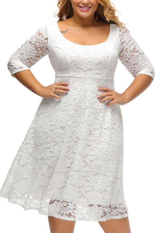 Plus-Size Sexy Solid Color Round Collar High Waist Dress White 3xl