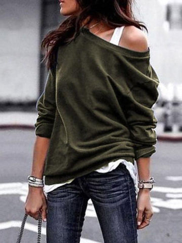 Long Sleeves Solid Color Blouses\u0026shirts Tops ARMY GREEN L