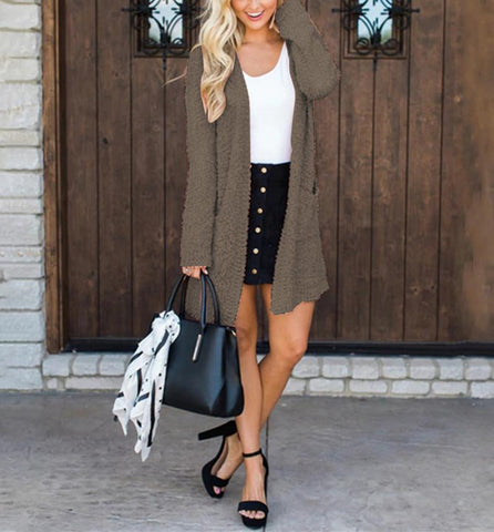 Image of Winter fashion   four-color long-sleeved cardigan pocket sweater Khaki l