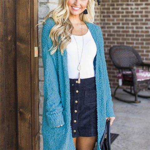 Image of Winter fashion   four-color long-sleeved cardigan pocket sweater Sky Blue m