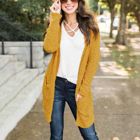 Image of Winter fashion   four-color long-sleeved cardigan pocket sweater Khaki xl