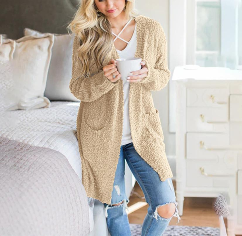 Winter fashion   four-color long-sleeved cardigan pocket sweater Gray s