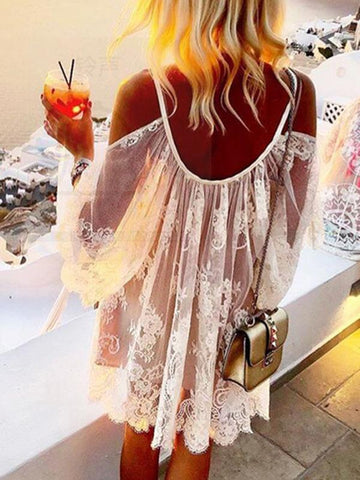 Image of Joygos Lace V-neck Hollow Long Sleeves Cover-up Mini Dresses