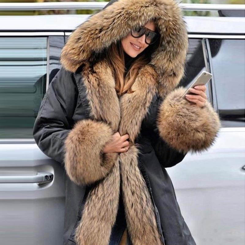 Fashion brown hooded large fur collar black coat