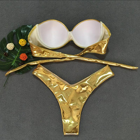 Image of Sexy bikini solid color split swimsuit Gold s