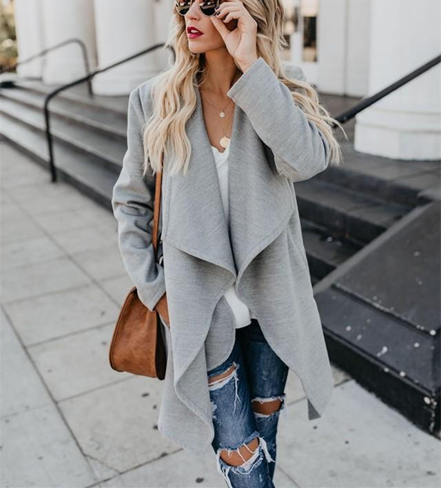 Fashion Pure Color   Long Sleeve Slim Coat Over A Windbreaker Gray xl