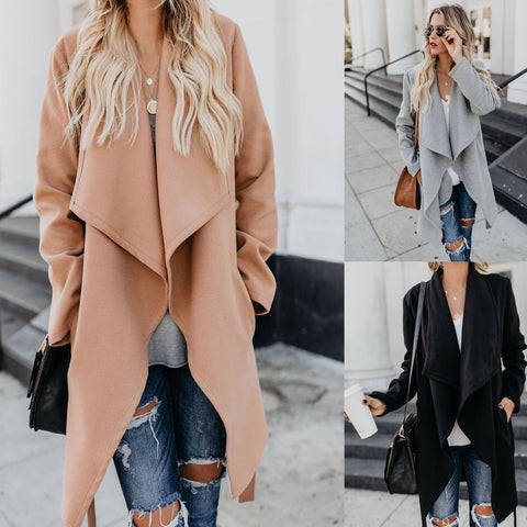 Image of Fashion Pure Color   Long Sleeve Slim Coat Over A Windbreaker Gray l