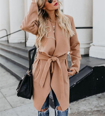Image of Fashion Pure Color   Long Sleeve Slim Coat Over A Windbreaker Khaki l