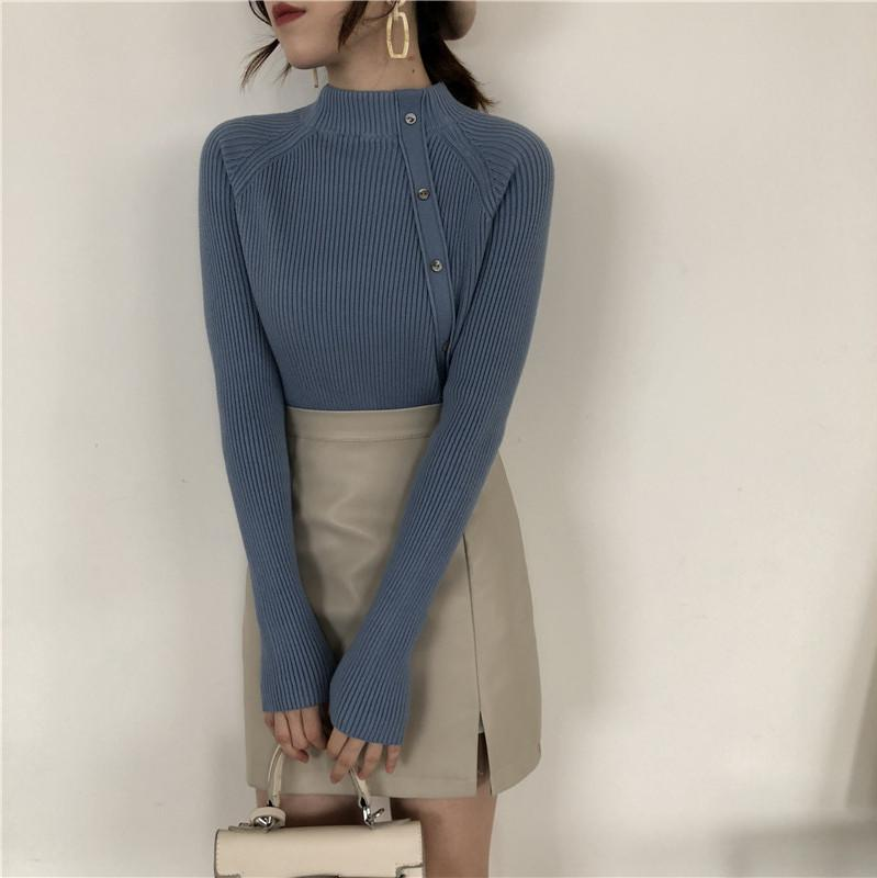 Fashion Long Sleeves   Half High Collar Shown Thin Knitted Sweater Apricot one size